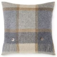 BRONTE by Moon Cushion - Square Windowpane Check Beige / Grey Lambswool