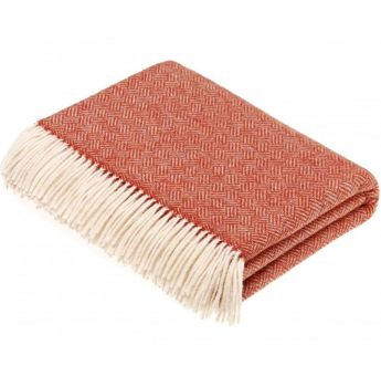 BRONTE by Moon Parquet Coral Throw in Supersoft Merino Lambswool