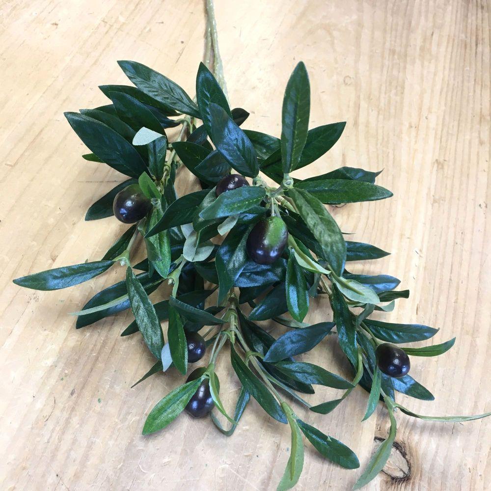 Faux Silk Olive Spray or Stem -  54 cm