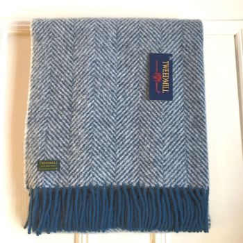 Tweedmill Ink Blue & Silver Herringbone Knee Rug or Small Blanket Throw Pure New Wool