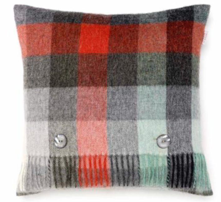 BRONTE by Moon Cushion - Check Coral & Mint Merino Lambswool