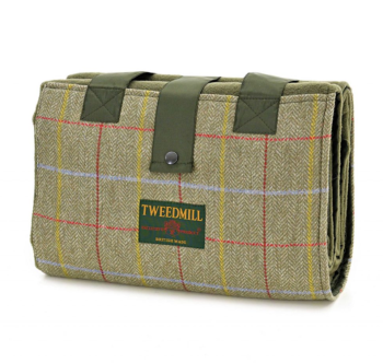 WATERPROOF Backed Badminton Picnic Rug Soft Fleece with Tweed wool pocket and Carry Strap.