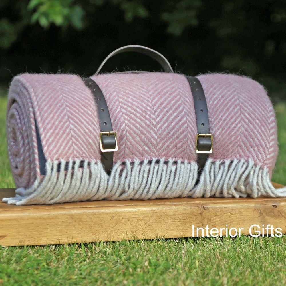 WATERPROOF Backed Wool Picnic Rug in Herringbone Dusky Pink with Leather Ca