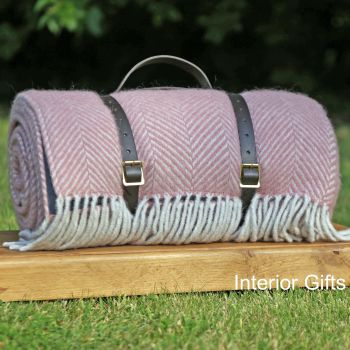 WATERPROOF Backed Wool Picnic Rug in Herringbone Dusky Pink with Leather Carry Strap