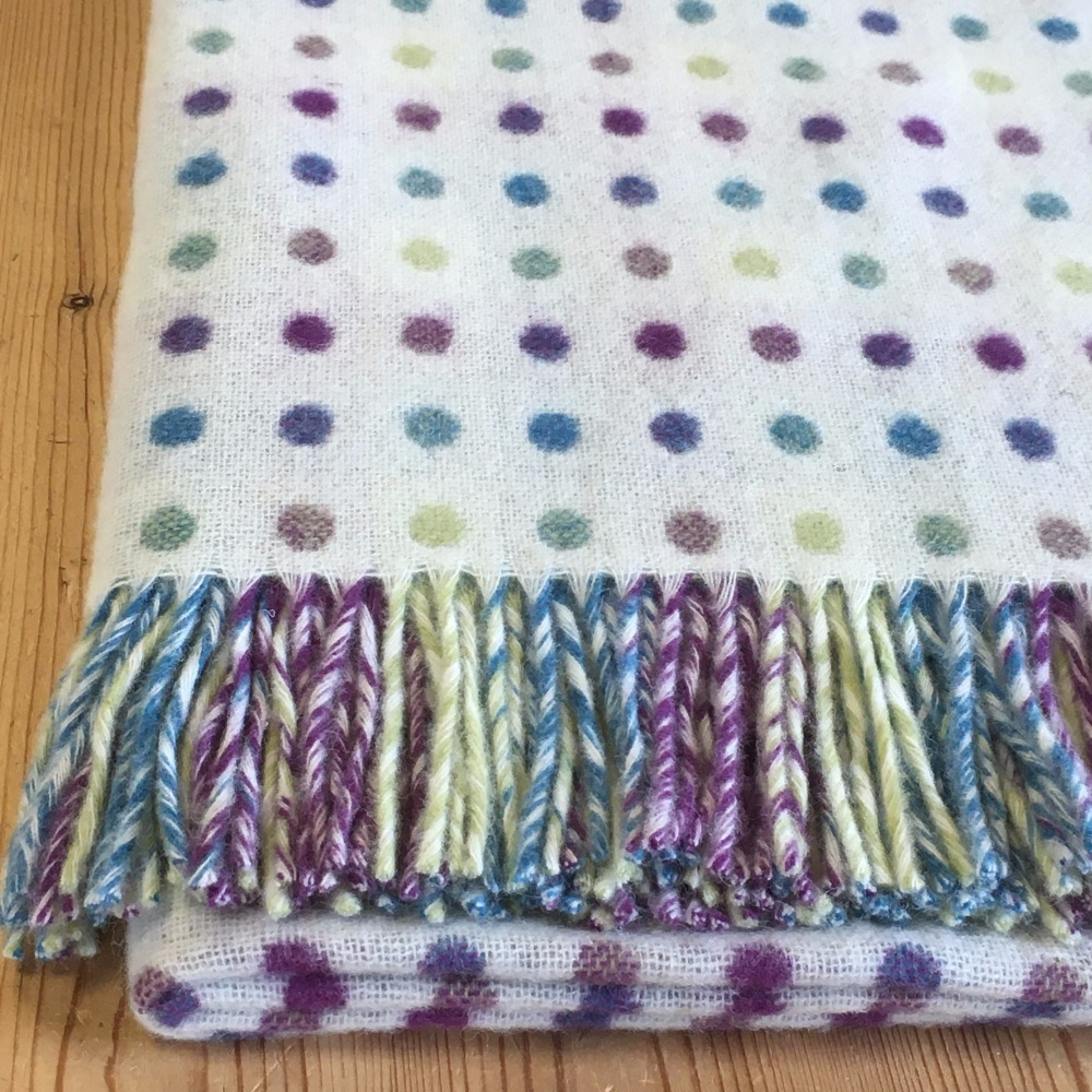 BRONTE by Moon Cream Colour Spot Throw in supersoft Merino Lambswool