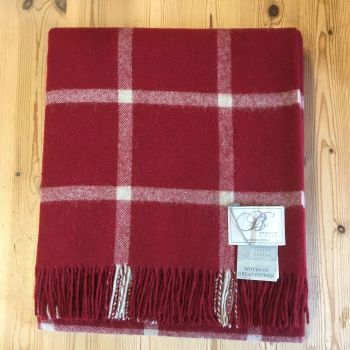 BRONTE by Moon Rich Red Windowpane Throw in 100% Shetland Pure New Wool