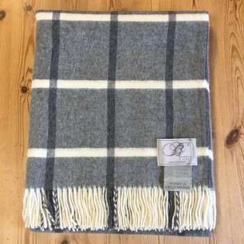 BRONTE by Moon Steel Grey & Cream Windowpane Throw in Supersoft Merino Lambswool