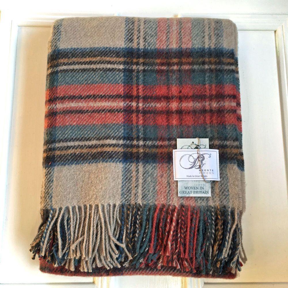 Bronte by Moon  Antique Dress Stewart Pure New Wool Throw / Blanket