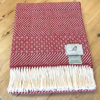 BRONTE by Moon Red Hopsack Fairisle Throw in Supersoft Merino Lambswool