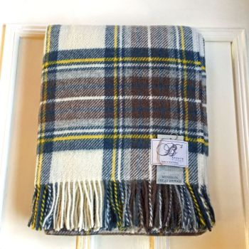 Bronte by Moon  Muted Blue Stewart Pure New Wool Throw / Blanket