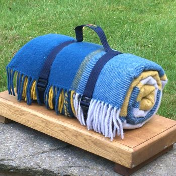 WATERPROOF Backed Wool Picnic DESIGNER Rug / Blanket in Blue/Yellow Multi Check with Practical Carry Strap.