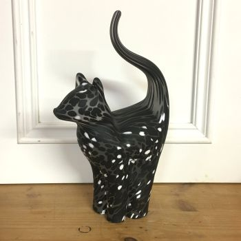 Glass Cat Sculpture Frosted Black with White Large - Handmade