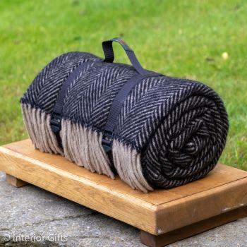 WATERPROOF Backed Wool Picnic Rug in Herringbone Charcoal Black & Beige Practical Carry Strap