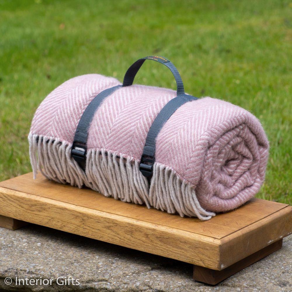 WATERPROOF Backed Wool Picnic Rug in Herringbone Dusky Pink with Web Carry