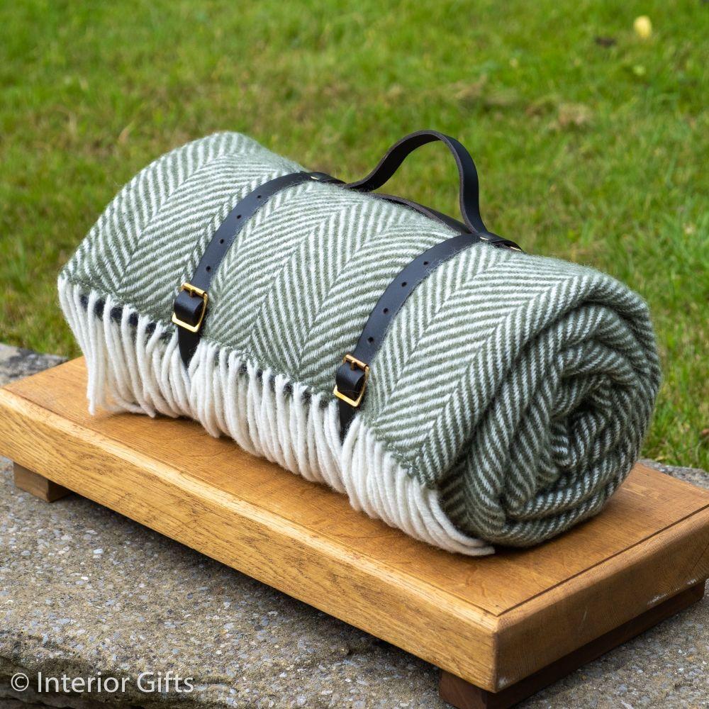 WATERPROOF Backed Wool Picnic Rug in Herringbone Olive Green with Leather C