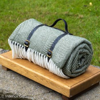 WATERPROOF Backed Wool Picnic Rug in Herringbone Olive Green with Leather Carry Strap