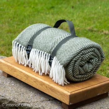WATERPROOF Backed Wool Picnic Rug in Herringbone Olive Green with Practical Carry Strap