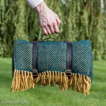 WATERPROOF Backed Wool Picnic Rug / Blanket in Herringbone Green & Lemon with Leather Carry Strap