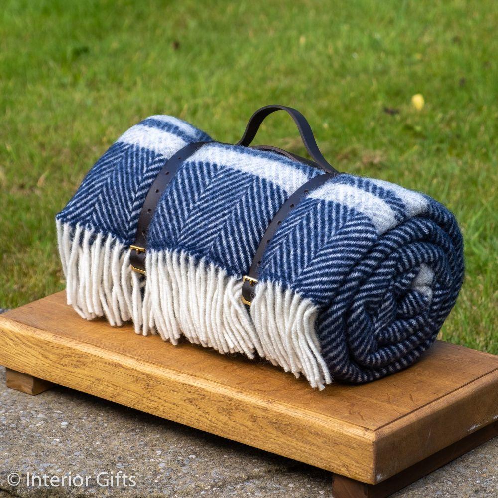 WATERPROOF Backed Wool Picnic Rug in Herringbone Navy Blue with Practical C