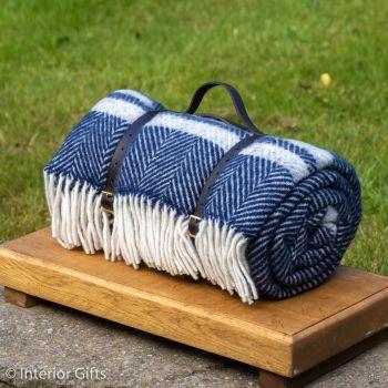 WATERPROOF Backed Wool Picnic Rug in Herringbone Navy Blue with Practical Carry Strap
