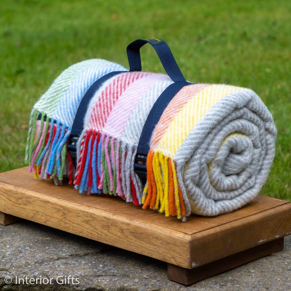 WATERPROOF Backed Wool Picnic Rug in Herringbone Multi Stipe with Practical