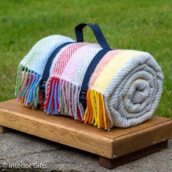 WATERPROOF Backed Wool Picnic Rug in Herringbone Multi Stipe with Practical Carry Strap