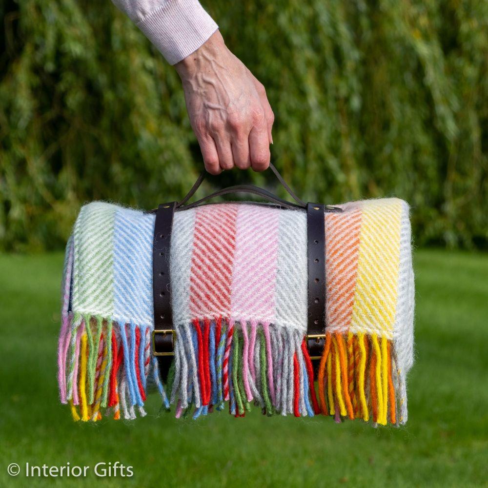 WATERPROOF Backed Wool Picnic Rug in Herringbone Multi Stipe with Leather C
