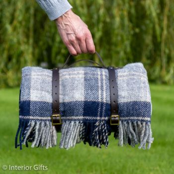 WATERPROOF Backed Wool Picnic Rug / Blanket in Country Navy & Grey Check with Leather  Carry Strap