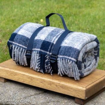 WATERPROOF Backed Wool Picnic Rug / Blanket in Country Navy & Grey Check with Webbing Carry Strap