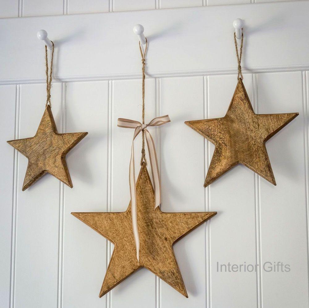 Three Decorative Large Natural Wooden Hanging Stars