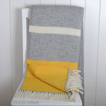 Tweedmill Lemon Yellow and Grey Colour Band Knee Rug or Small Blanket Throw Pure New Wool