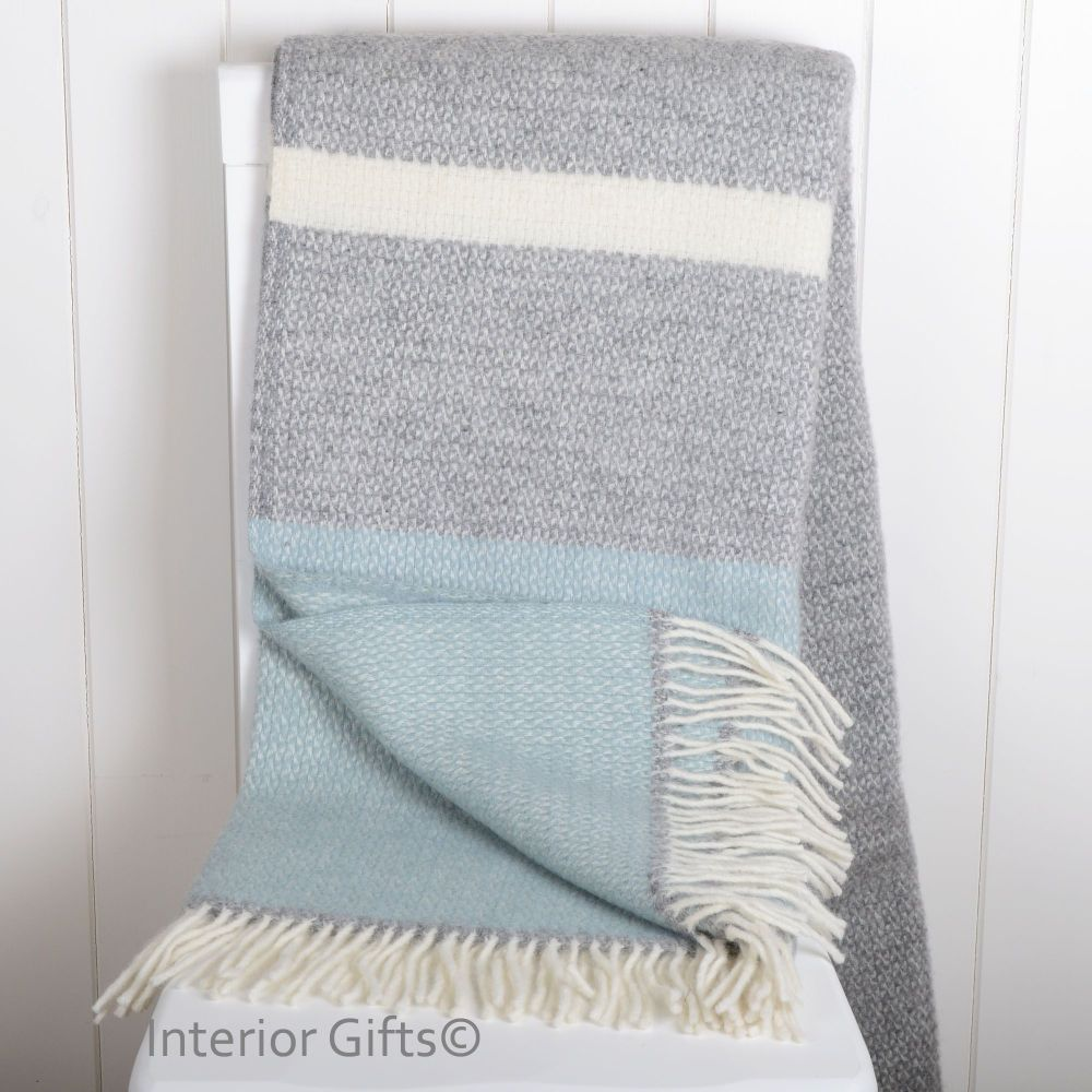 Tweedmill Duck Egg and Grey Colour Band Knee Rug or Small Blanket Throw Pur