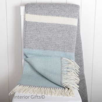 Tweedmill Duck Egg and Grey Colour Band Knee Rug or Small Blanket Throw Pure New Wool