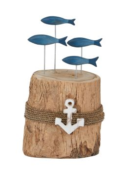 Archipelago Blue Fish Stump Wood Carving Large