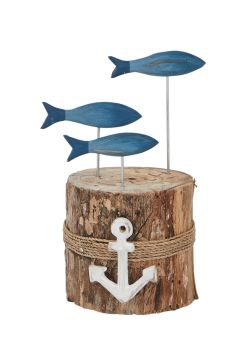 Archipelago Blue Fish Stump Wood Carving Small