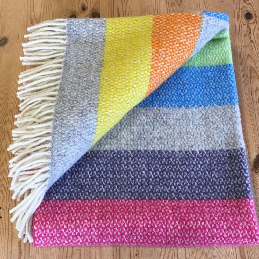 Tweedmill Tutti Frutti Stripe Ascot Pure New Wool Throw Blanket