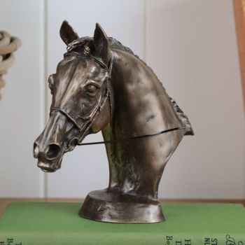 Bronze Sculpture Horse Head Bust Bridle & Reins