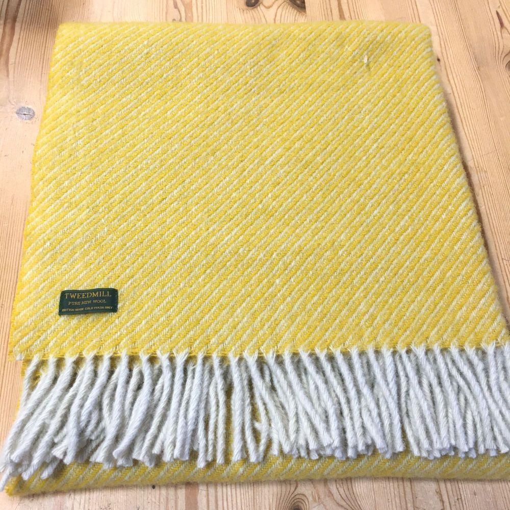 Tweedmill Yellow Diagonal Stripe Knee Rug, Small Blanket Throw Pure New Woo