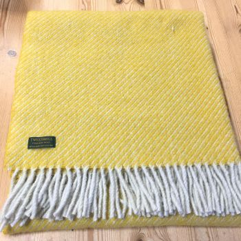 Tweedmill Yellow Diagonal Stripe Knee Rug, Small Blanket Throw Pure New Wool