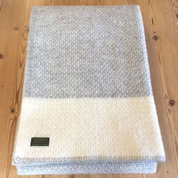Tweedmill Crossweave Grey & Cream Pure New Wool Throw Blanket