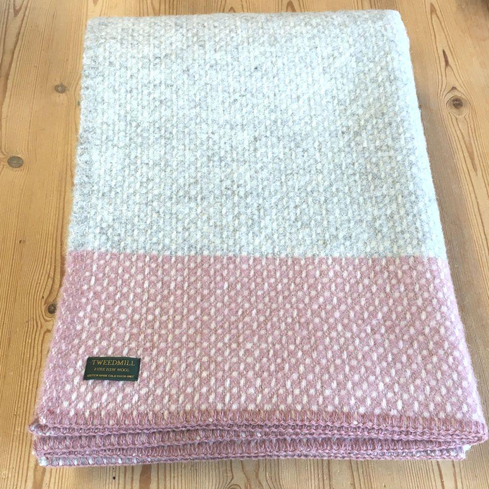 Tweedmill Crossweave Grey & Dusky Pink Pure New Wool Throw Blanket