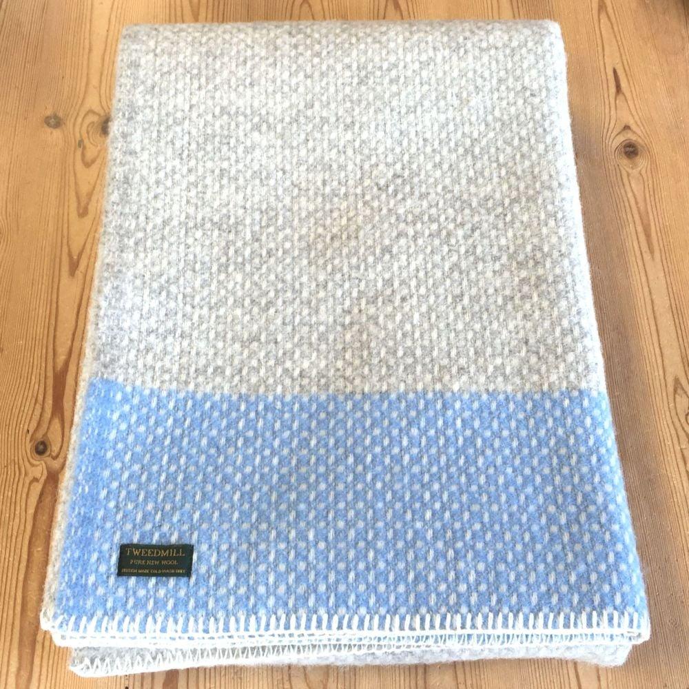 Tweedmill Crossweave Grey & Sea Blue Pure New Wool Throw Blanket