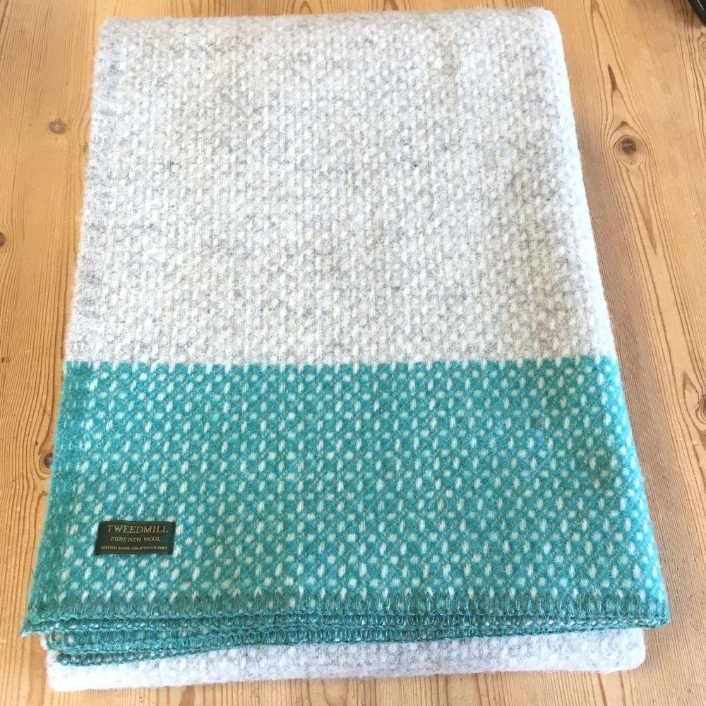 Tweedmill Crossweave Grey & Peacock Blue Pure New Wool Throw Blanket