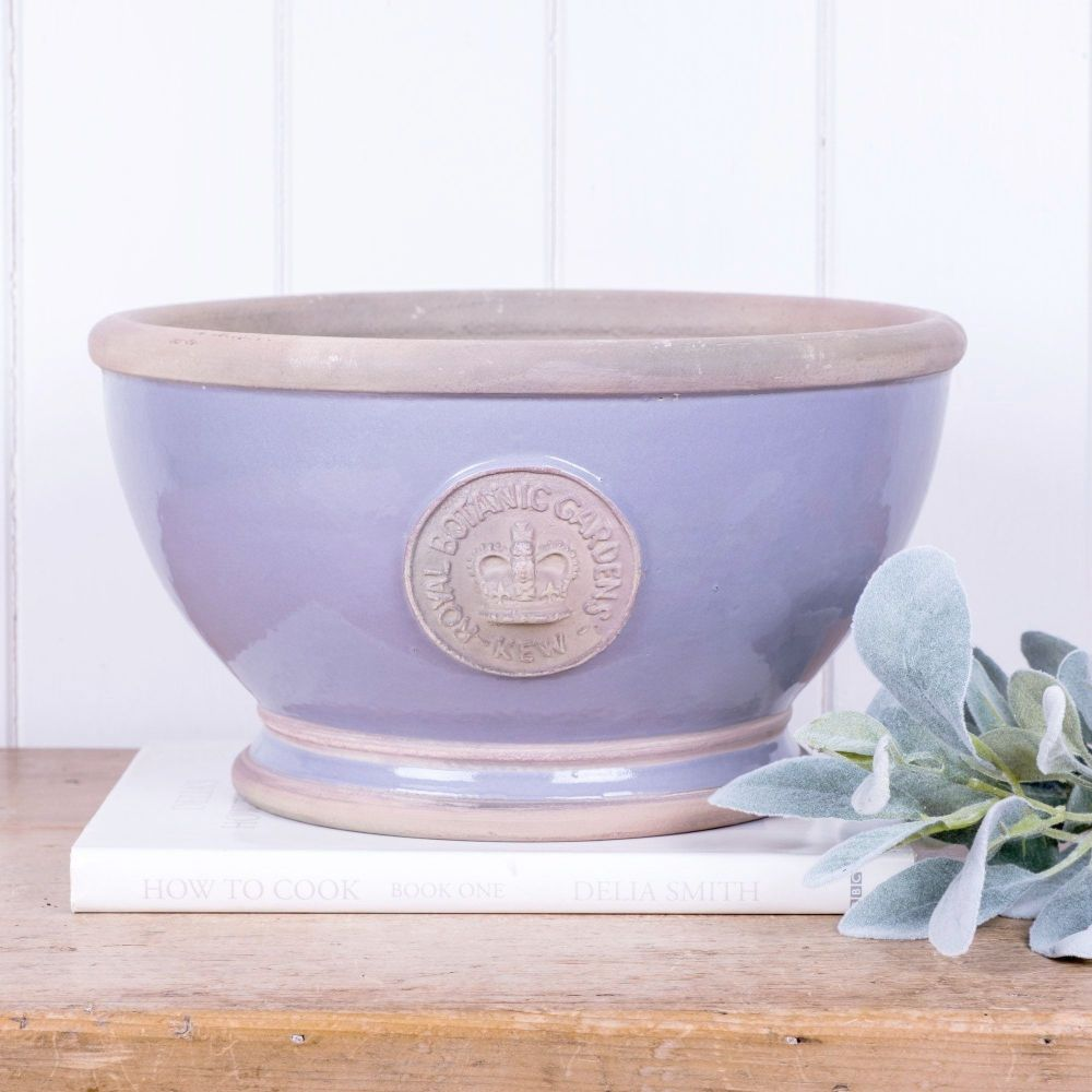 Kew Footed Bowl in Brassica Purple - Royal Botanic Gardens Plant Pot - Larg
