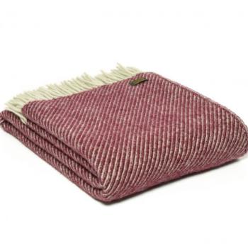 Tweedmill Diagonal Stripe Rosewood Pure New Wool Throw Blanket