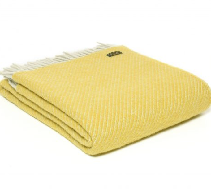 Tweedmill Diagonal Stripe Yellow Pure New Wool Throw Blanket