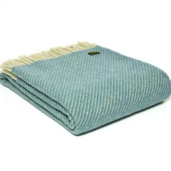 Tweedmill Diagonal Stripe Petrol Pure New Wool Throw Blanket