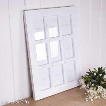 Hand Carved Decorative White Wooden Photo Panel Frame