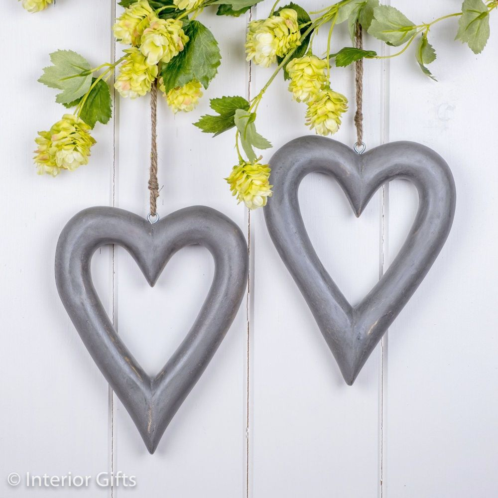 Two Decorative Grey Wooden Hanging Hearts - Medium