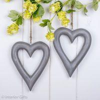 Two Decorative Wooden Grey Hanging Hearts - Medium
